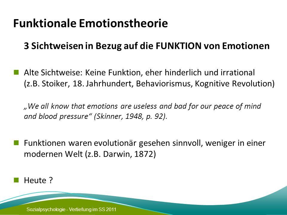 Sozialpsychologie - Vertiefung im SS 2011 Funktionale Emotionstheorie 3 Sichtweisen in Bezug auf die FUNKTION von Emotionen Alte Sichtweise: Keine Funktion, eher hinderlich und irrational (z.B.
