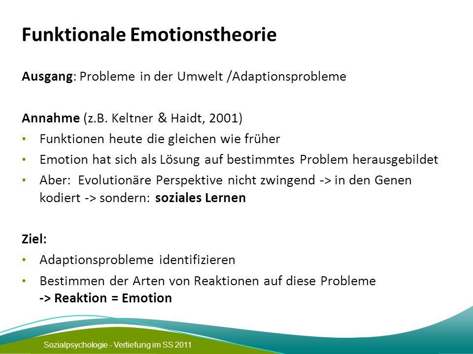 Sozialpsychologie - Vertiefung im SS 2011 Funktionale Emotionstheorie Ausgang: Probleme in der Umwelt /Adaptionsprobleme Annahme (z.B.