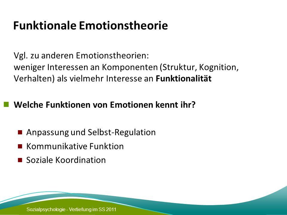 Sozialpsychologie - Vertiefung im SS 2011 Funktionale Emotionstheorie Vgl.