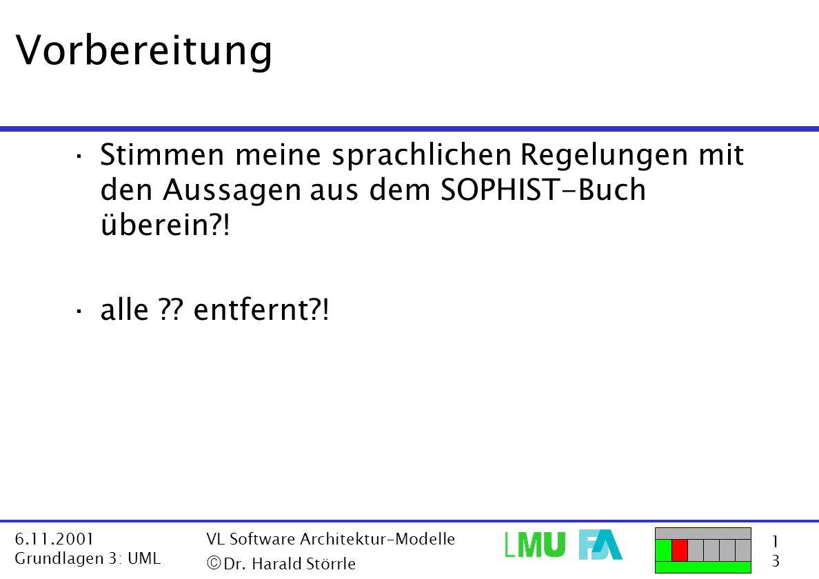 1313 6.11.2001 Grundlagen 3: UML VL Software Architektur-Modelle  Dr. Harald Störrle Vorbereitung ·Stimmen meine sprachlichen Regelungen mit den Aus