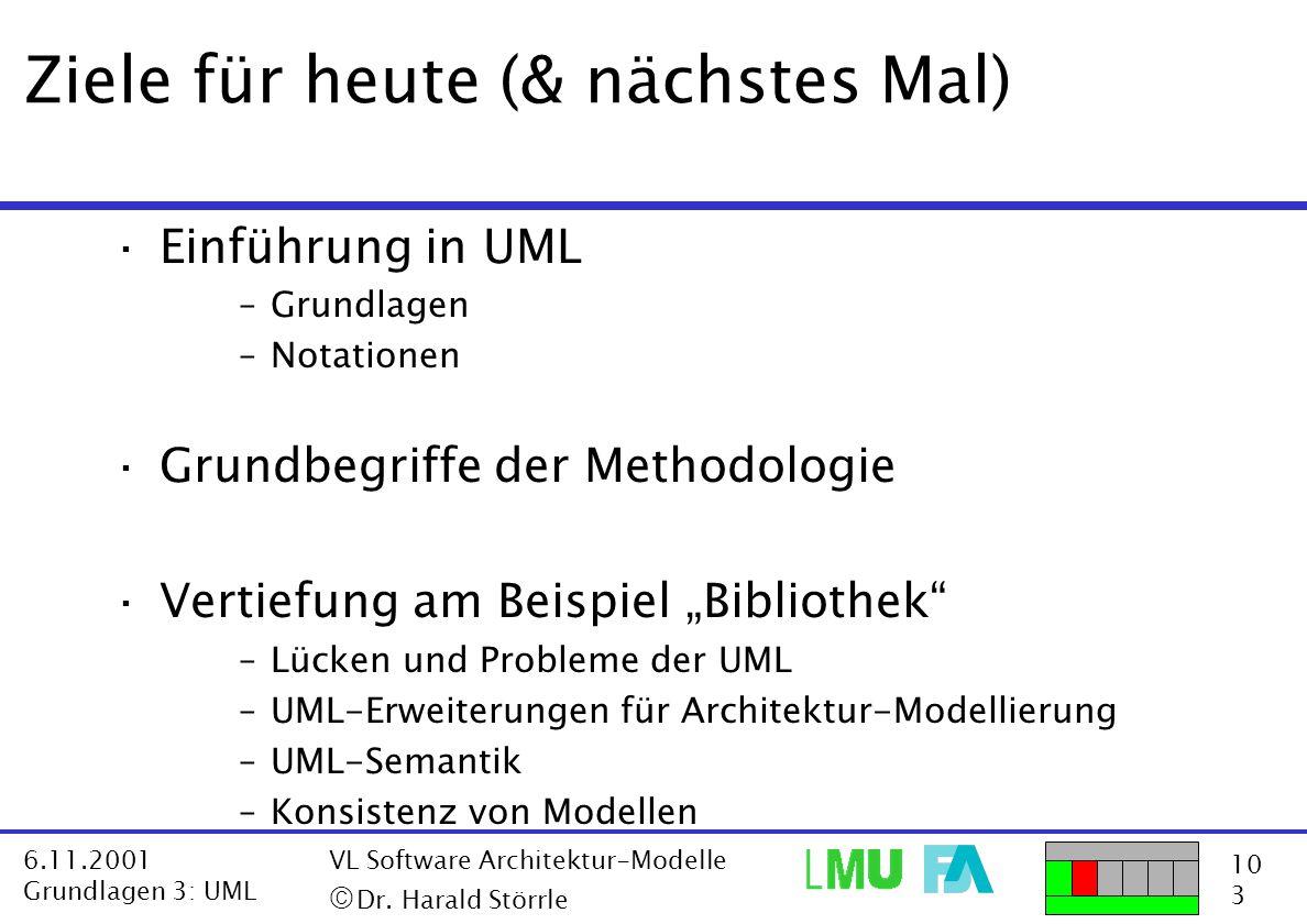 10 3 6.11.2001 Grundlagen 3: UML VL Software Architektur-Modelle  Dr. Harald Störrle Ziele für heute (& nächstes Mal) ·Einführung in UML –Grundlagen