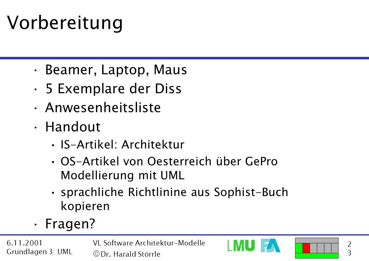 2323 6.11.2001 Grundlagen 3: UML VL Software Architektur-Modelle  Dr. Harald Störrle Vorbereitung ·Beamer, Laptop, Maus ·5 Exemplare der Diss ·Anwes