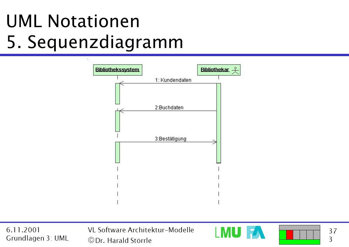 37 3 6.11.2001 Grundlagen 3: UML VL Software Architektur-Modelle  Dr. Harald Störrle UML Notationen 5. Sequenzdiagramm