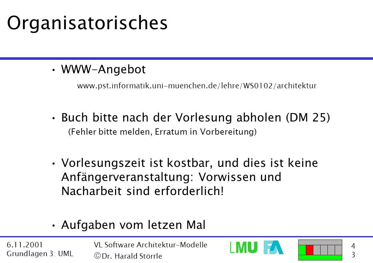 4343 6.11.2001 Grundlagen 3: UML VL Software Architektur-Modelle  Dr. Harald Störrle Organisatorisches WWW-Angebot www.pst.informatik.uni-muenchen.d