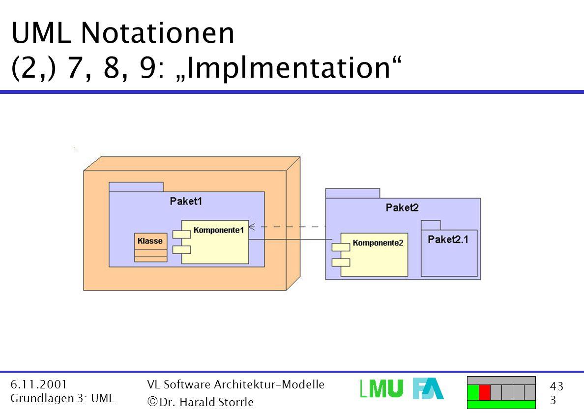 "43 3 6.11.2001 Grundlagen 3: UML VL Software Architektur-Modelle  Dr. Harald Störrle UML Notationen (2,) 7, 8, 9: ""Implmentation"""