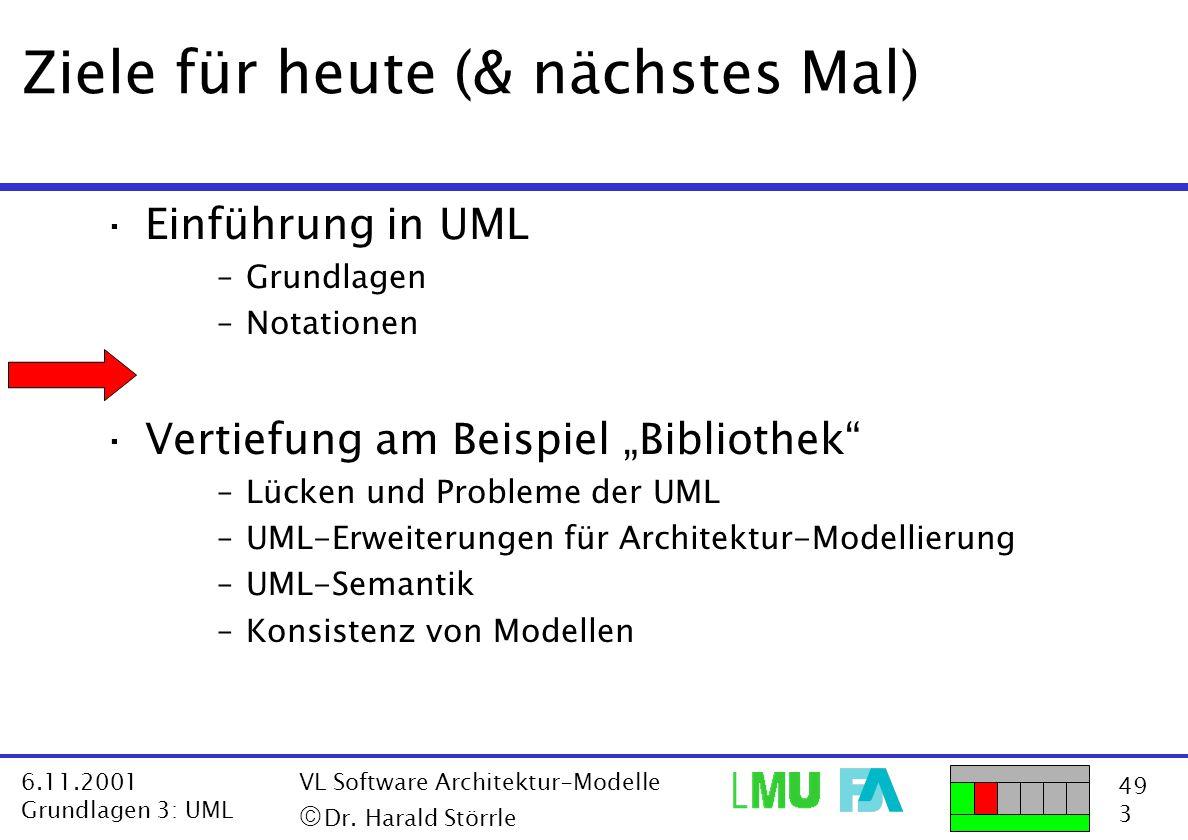 49 3 6.11.2001 Grundlagen 3: UML VL Software Architektur-Modelle  Dr. Harald Störrle Ziele für heute (& nächstes Mal) ·Einführung in UML –Grundlagen