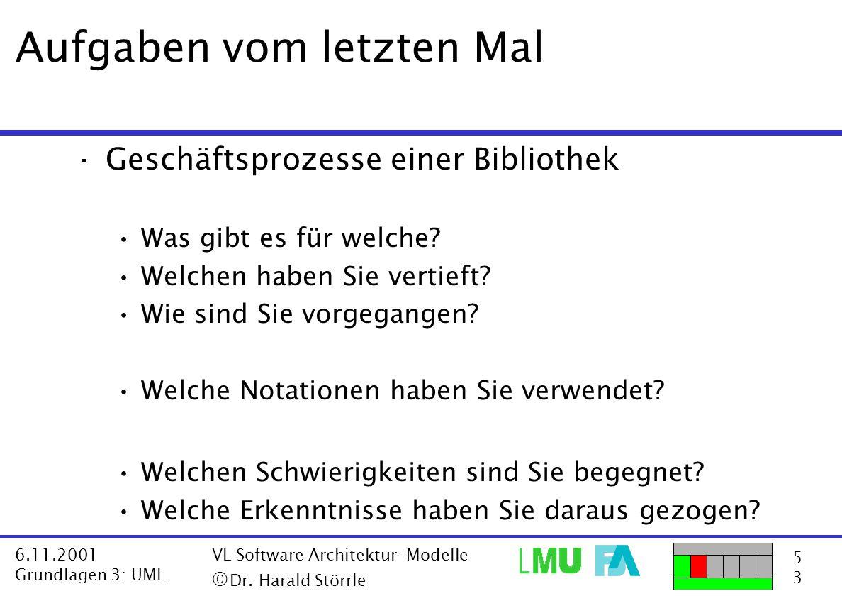 5353 6.11.2001 Grundlagen 3: UML VL Software Architektur-Modelle  Dr. Harald Störrle ·Geschäftsprozesse einer Bibliothek Was gibt es für welche? Wel