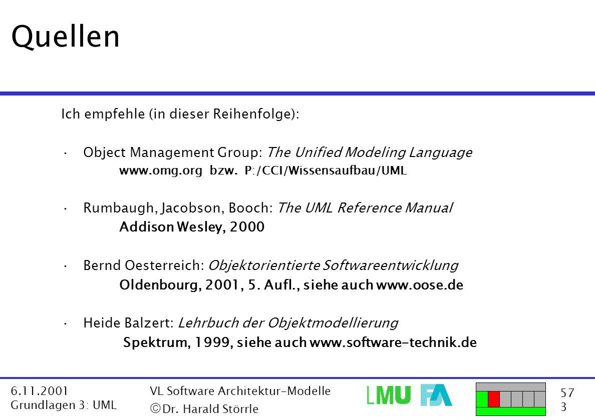 57 3 6.11.2001 Grundlagen 3: UML VL Software Architektur-Modelle  Dr. Harald Störrle Quellen Ich empfehle (in dieser Reihenfolge): ·Object Managemen