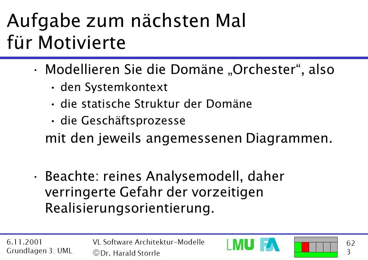 62 3 6.11.2001 Grundlagen 3: UML VL Software Architektur-Modelle  Dr. Harald Störrle Aufgabe zum nächsten Mal für Motivierte ·Modellieren Sie die Do