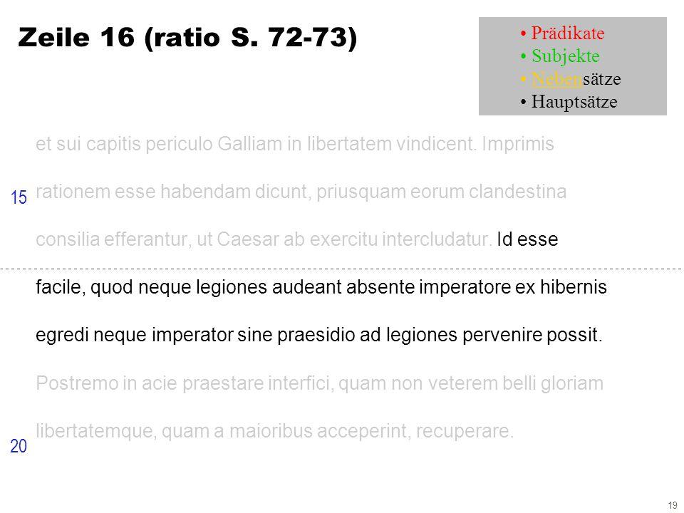 19 Zeile 16 (ratio S. 72-73) et sui capitis periculo Galliam in libertatem vindicent.