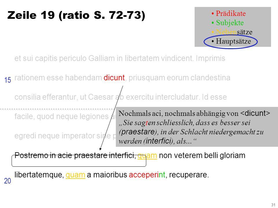 31 Zeile 19 (ratio S. 72-73) et sui capitis periculo Galliam in libertatem vindicent.