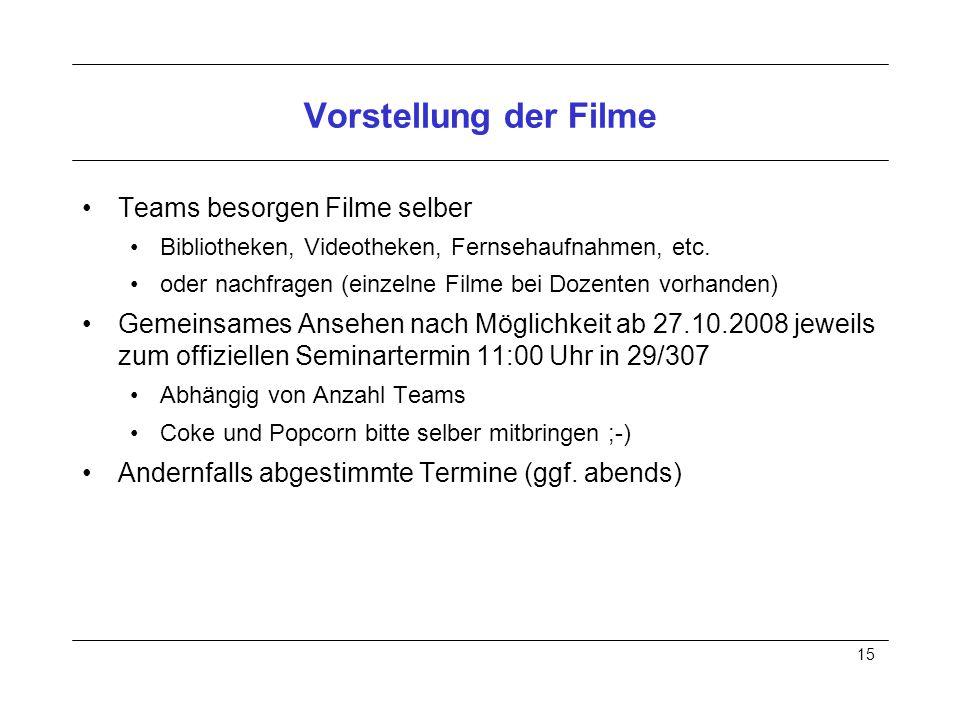 15 Vorstellung der Filme Teams besorgen Filme selber Bibliotheken, Videotheken, Fernsehaufnahmen, etc.