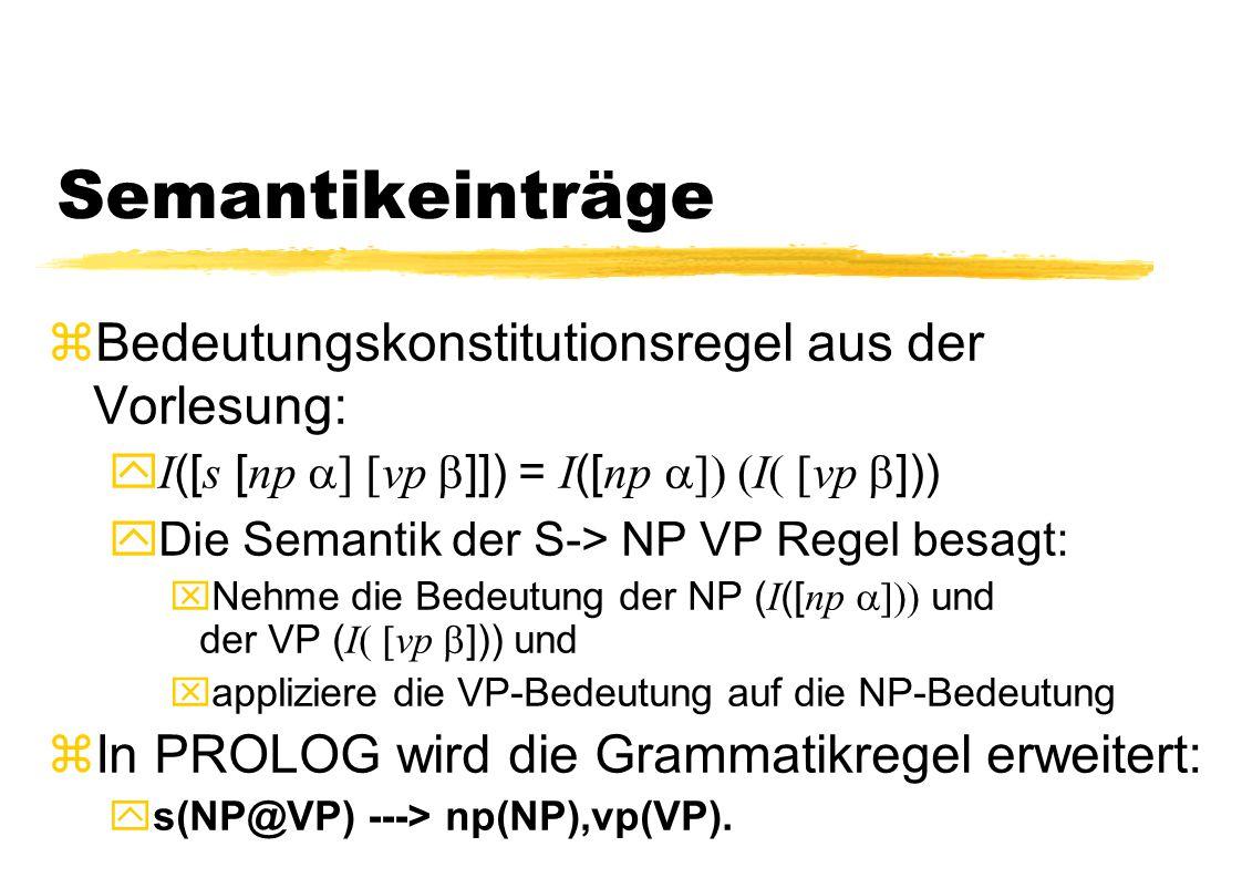 Semantikeinträge zBedeutungskonstitutionsregel aus der Vorlesung:  I ([ s [ np  vp  ]]) = I ([ np  I  vp  ])) yDie Semantik der S-> N