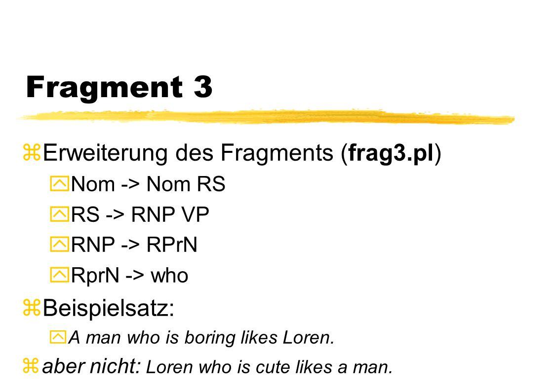 Fragment 3  Erweiterung des Fragments (frag3.pl) yNom -> Nom RS yRS -> RNP VP yRNP -> RPrN yRprN -> who zBeispielsatz: yA man who is boring likes Lor