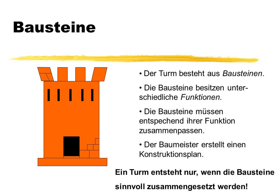 Bausteine Der Turm besteht aus Bausteinen. Die Bausteine besitzen unter- schiedliche Funktionen. Die Bausteine müssen entspechend ihrer Funktion zusam