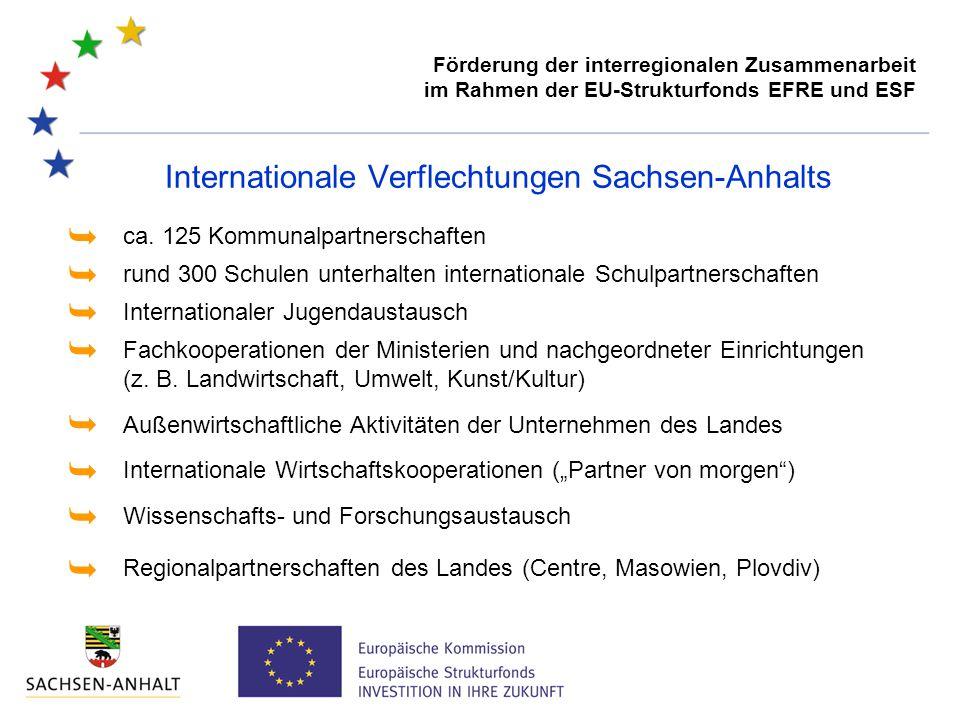 Förderung der interregionalen Zusammenarbeit im Rahmen der EU-Strukturfonds EFRE und ESF Internationale Verflechtungen Sachsen-Anhalts rund 300 Schule