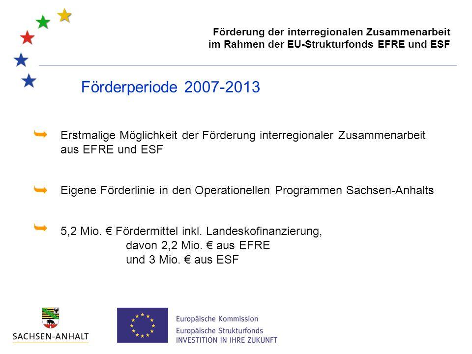 Förderperiode 2007-2013 5,2 Mio. € Fördermittel inkl. Landeskofinanzierung, davon 2,2 Mio. € aus EFRE und 3 Mio. € aus ESF Erstmalige Möglichkeit der