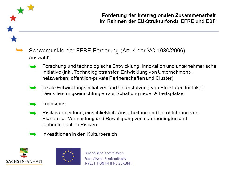 Schwerpunkte der EFRE-Förderung (Art. 4 der VO 1080/2006) Auswahl :   lokale Entwicklungsinitiativen und Unterstützung von Strukturen für lokale Die
