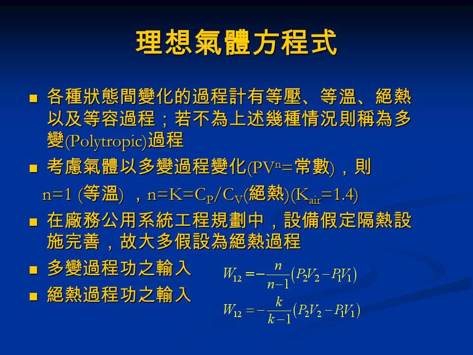 理想氣體方程式 各種狀態間變化的過程計有等壓、等溫、絕熱 以及等容過程;若不為上述幾種情況則稱為多 變 (Polytropic) 過程 各種狀態間變化的過程計有等壓、等溫、絕熱 以及等容過程;若不為上述幾種情況則稱為多 變 (Polytropic) 過程 考慮氣體以多變過程變化 (PV n = 常數