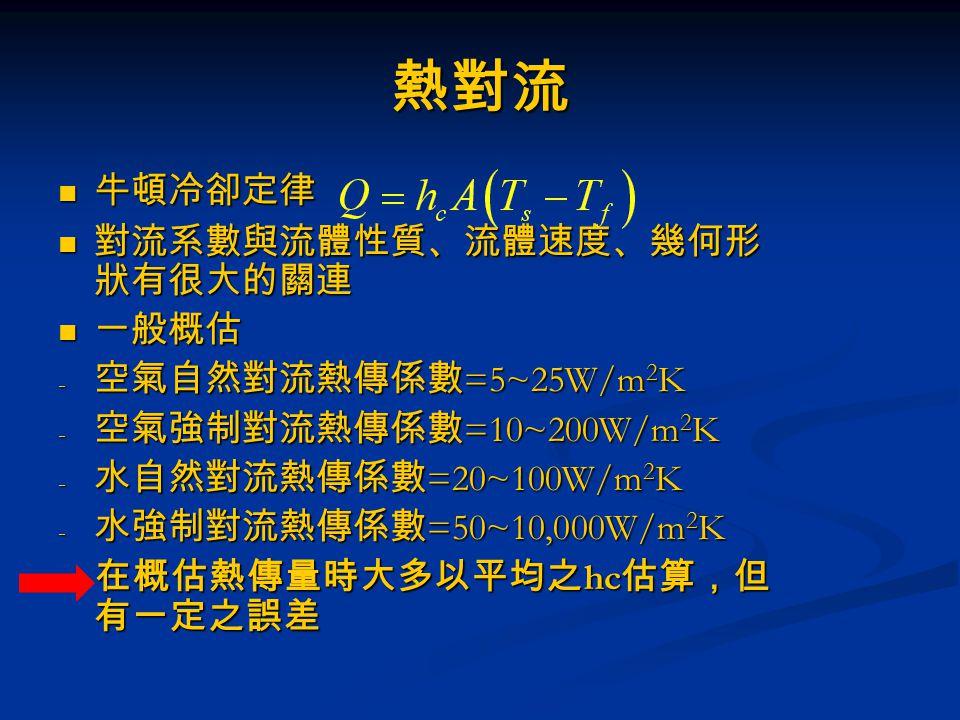 熱對流 牛頓冷卻定律 牛頓冷卻定律 對流系數與流體性質、流體速度、幾何形 狀有很大的關連 對流系數與流體性質、流體速度、幾何形 狀有很大的關連 一般概估 一般概估 - 空氣自然對流熱傳係數 =5~25W/m 2 K - 空氣強制對流熱傳係數 =10~200W/m 2 K - 水自然對流熱傳係數 =2