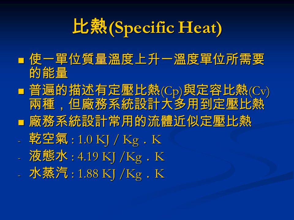 比熱 (Specific Heat) 使一單位質量溫度上升一溫度單位所需要 的能量 使一單位質量溫度上升一溫度單位所需要 的能量 普遍的描述有定壓比熱 (Cp) 與定容比熱 (Cv) 兩種,但廠務系統設計大多用到定壓比熱 普遍的描述有定壓比熱 (Cp) 與定容比熱 (Cv) 兩種,但廠務系統設計大多