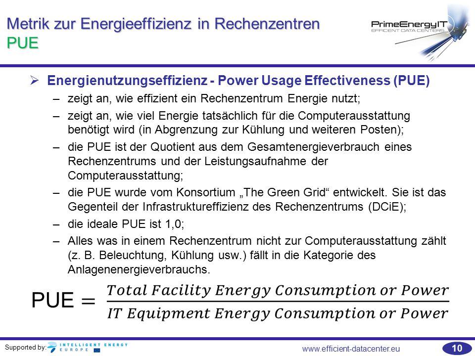 Supported by: www.efficient-datacenter.eu 10 Metrik zur Energieeffizienz in Rechenzentren PUE   Energienutzungseffizienz - Power Usage Effectiveness