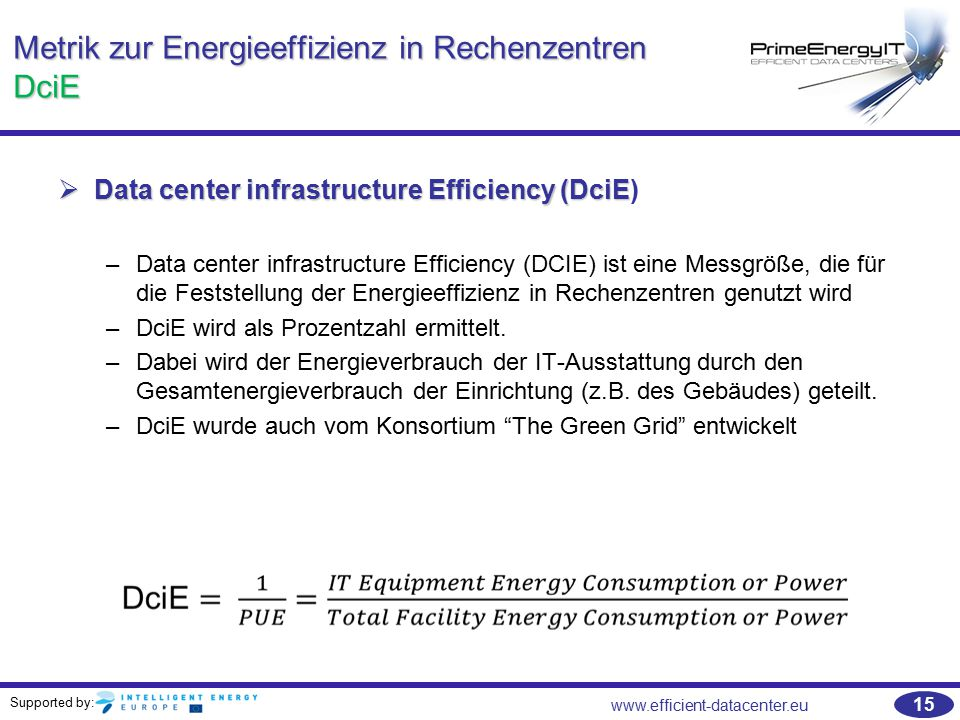 Supported by: www.efficient-datacenter.eu 15 Metrik zur Energieeffizienz in Rechenzentren DciE  Data center infrastructure Efficiency (DciE  Data center infrastructure Efficiency (DciE) –Data center infrastructure Efficiency (DCIE) ist eine Messgröße, die für die Feststellung der Energieeffizienz in Rechenzentren genutzt wird –DciE wird als Prozentzahl ermittelt.