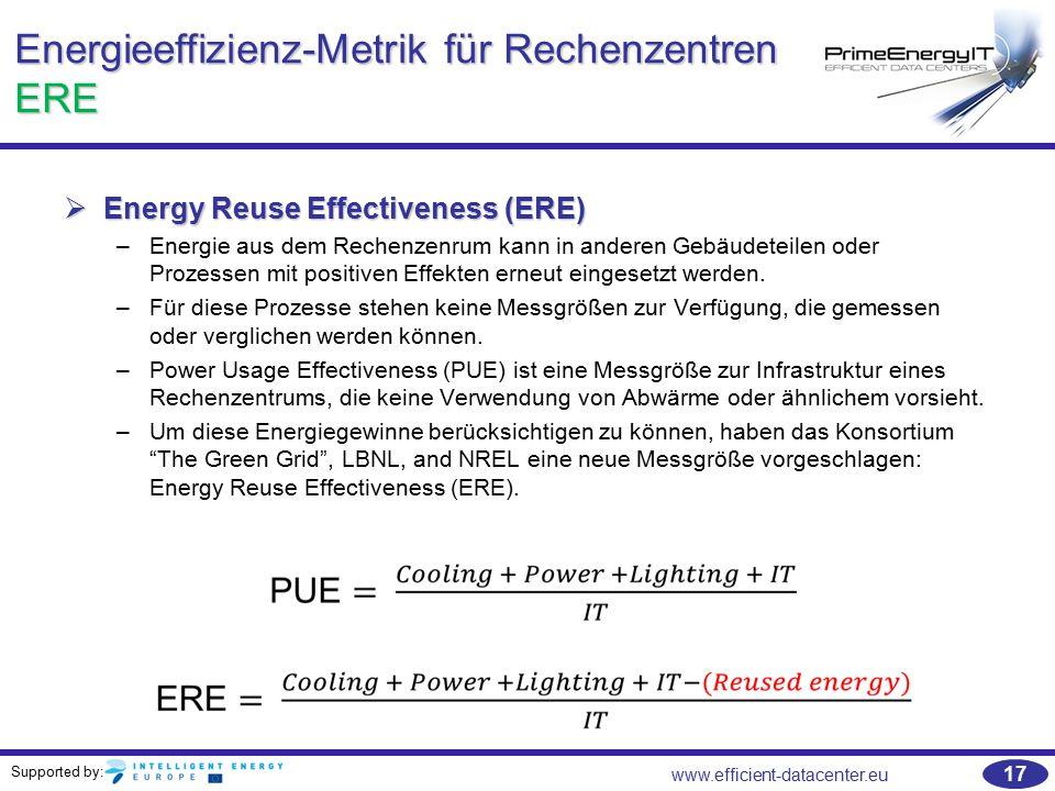Supported by: www.efficient-datacenter.eu 17 Energieeffizienz-Metrik für Rechenzentren ERE  Energy Reuse Effectiveness (ERE) –Energie aus dem Rechenz