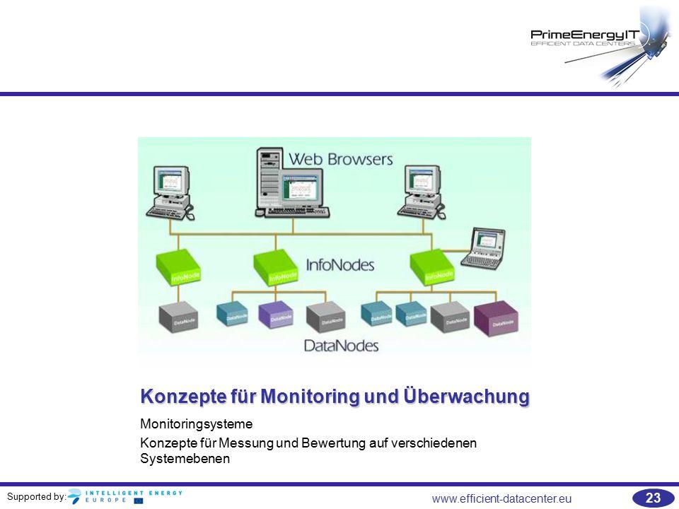 Supported by: www.efficient-datacenter.eu 23 Konzepte für Monitoring und Überwachung Monitoringsysteme Konzepte für Messung und Bewertung auf verschie