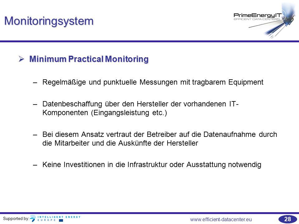 Supported by: www.efficient-datacenter.eu 28 Monitoringsystem  Minimum Practical Monitoring –Regelmäßige und punktuelle Messungen mit tragbarem Equip