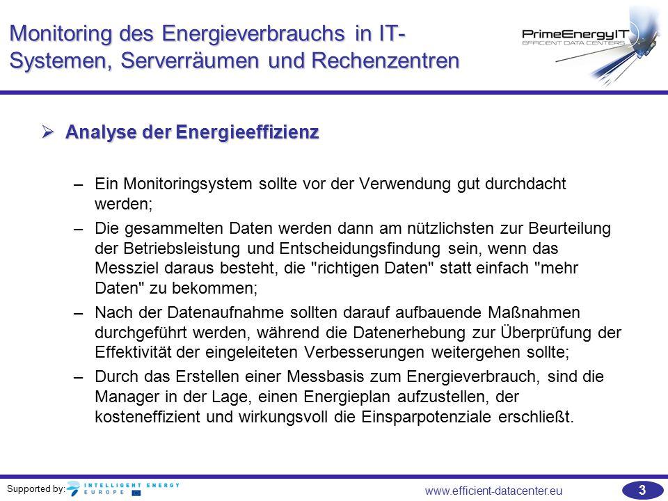 Supported by: www.efficient-datacenter.eu 54 Übungen   PUE - Beispiel: –Wie hoch ist die PUE eines Rechenzentrums mit einem Gesamtenergieverbrauch von 100.000 kW und einem Energieverbrauch von 80.000 kW für die IT-Ausstattung.
