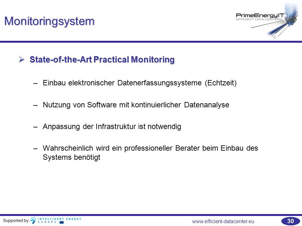 Supported by: www.efficient-datacenter.eu 30 Monitoringsystem  State-of-the-Art Practical Monitoring –Einbau elektronischer Datenerfassungssysteme (E