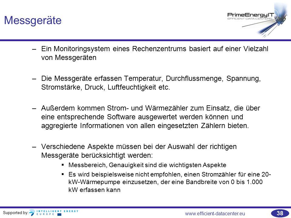 Supported by: www.efficient-datacenter.eu 38 Messgeräte –Ein Monitoringsystem eines Rechenzentrums basiert auf einer Vielzahl von Messgeräten –Die Mes