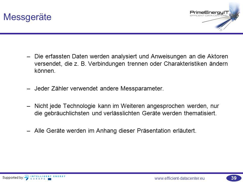 Supported by: www.efficient-datacenter.eu 39 Messgeräte –Die erfassten Daten werden analysiert und Anweisungen an die Aktoren versendet, die z. B. Ver