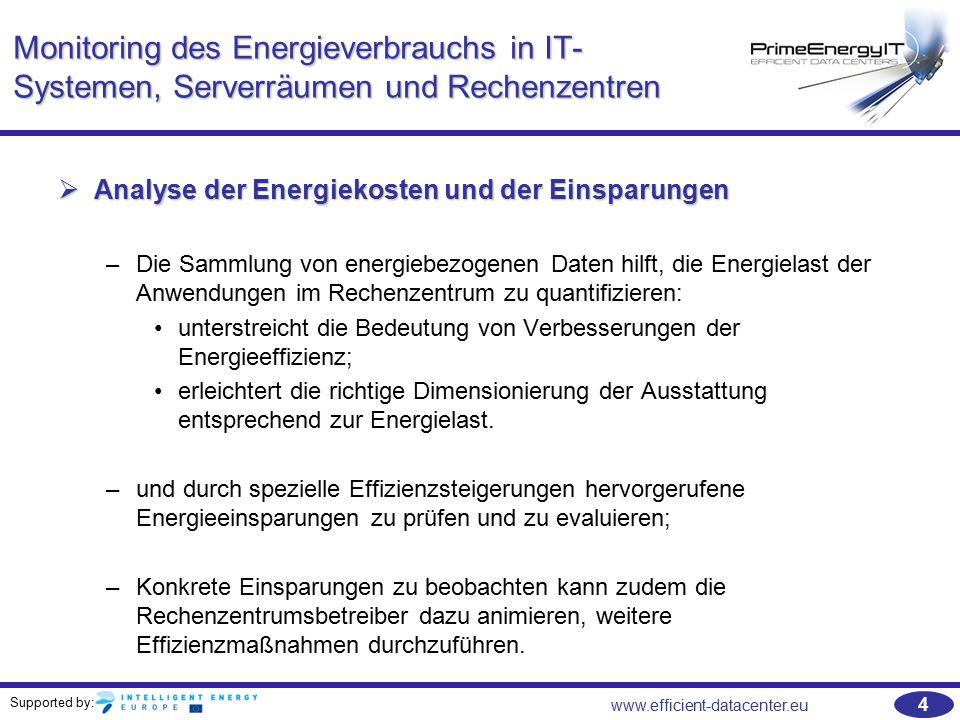 Supported by: www.efficient-datacenter.eu 45 Wie man Energieeffizienz einstellt Das Green Grid stellt ein Online-Tool zur Verfügung, das den Nutzer befähigt, seine Versorgungskette zu analysieren und die Effizienz von verschiedenen Konfigurationen zu berechnen und zu vergleichen:  http://estimator.thegreengrid.org/p cee http://estimator.thegreengrid.org/p cee http://estimator.thegreengrid.org/p cee