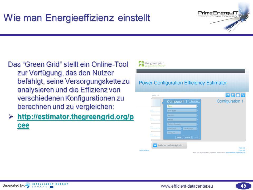 """Supported by: www.efficient-datacenter.eu 45 Wie man Energieeffizienz einstellt Das """"Green Grid"""" stellt ein Online-Tool zur Verfügung, das den Nutzer"""