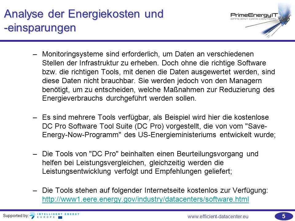 Supported by: www.efficient-datacenter.eu 56 Übungen   ERE - Beispiel: –Wie hoch ist die PUE und die ERE des folgenden Rechenzentrums: ParameterWert IT-Last20000 kW/h Energieverbrauch (Kühlung)10000 kW/h Energieverluste4500 kW/h Beleuchtung500 kW/h Gesamt35000 kW/h Abwärmenutzung6000 kW/h