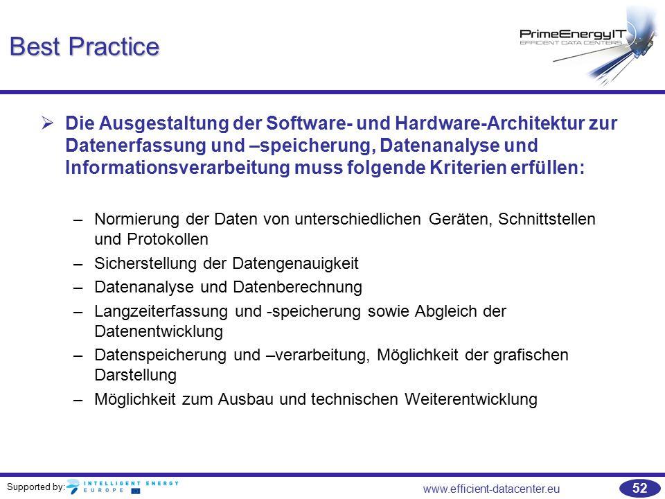 Supported by: www.efficient-datacenter.eu 52 Best Practice   Die Ausgestaltung der Software- und Hardware-Architektur zur Datenerfassung und –speich