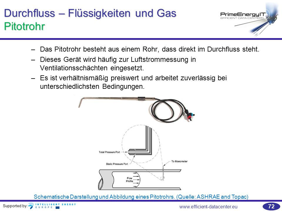 Supported by: www.efficient-datacenter.eu 72 Durchfluss – Flüssigkeiten und Gas Pitotrohr –Das Pitotrohr besteht aus einem Rohr, dass direkt im Durchf