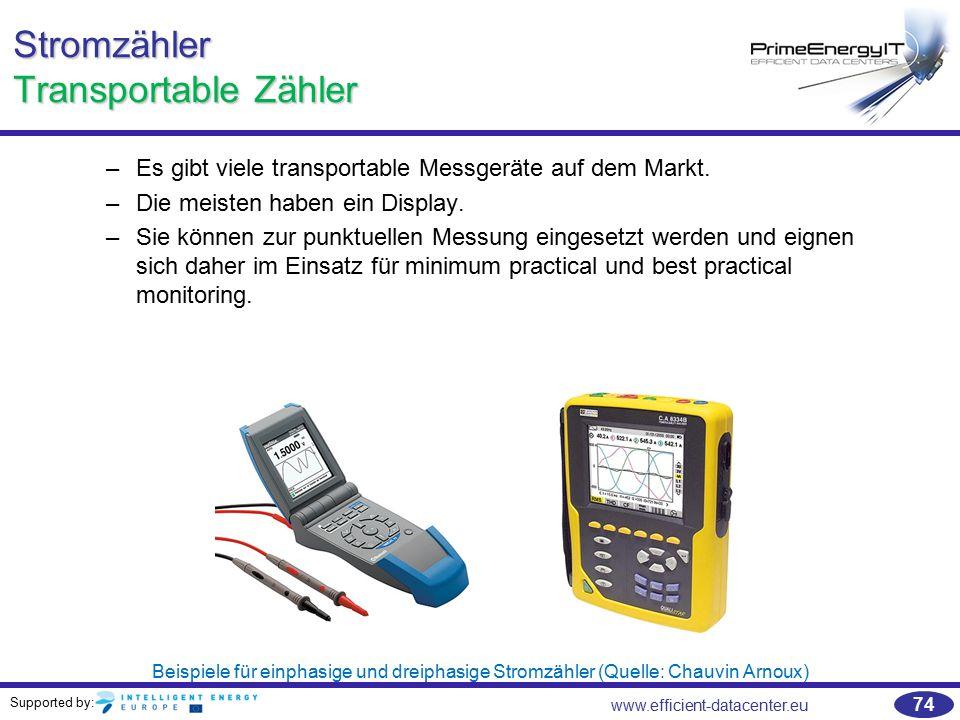 Supported by: www.efficient-datacenter.eu 74 Stromzähler Transportable Zähler –Es gibt viele transportable Messgeräte auf dem Markt. –Die meisten habe