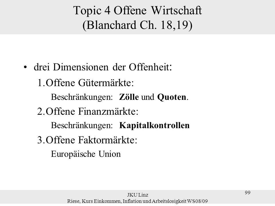 JKU Linz Riese, Kurs Einkommen, Inflation und Arbeitslosigkeit WS08/09 99 Topic 4 Offene Wirtschaft (Blanchard Ch. 18,19) drei Dimensionen der Offenhe