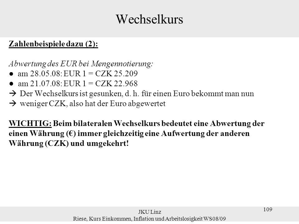JKU Linz Riese, Kurs Einkommen, Inflation und Arbeitslosigkeit WS08/09 109 Wechselkurs Zahlenbeispiele dazu (2): Abwertung des EUR bei Mengennotierung