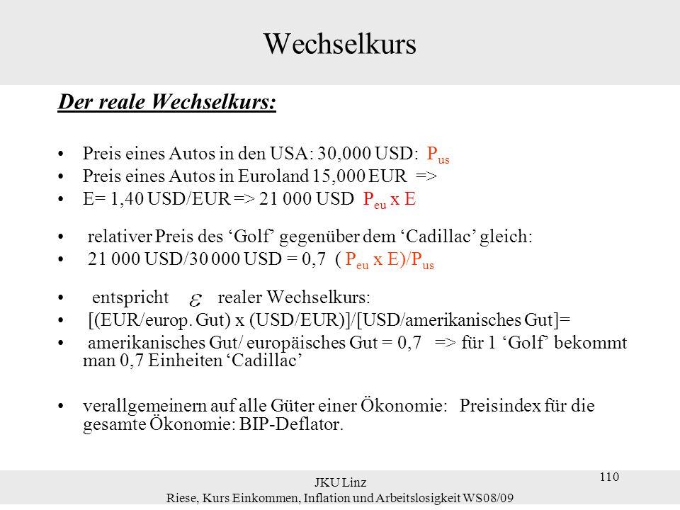 JKU Linz Riese, Kurs Einkommen, Inflation und Arbeitslosigkeit WS08/09 110 Wechselkurs Der reale Wechselkurs: Preis eines Autos in den USA: 30,000 USD