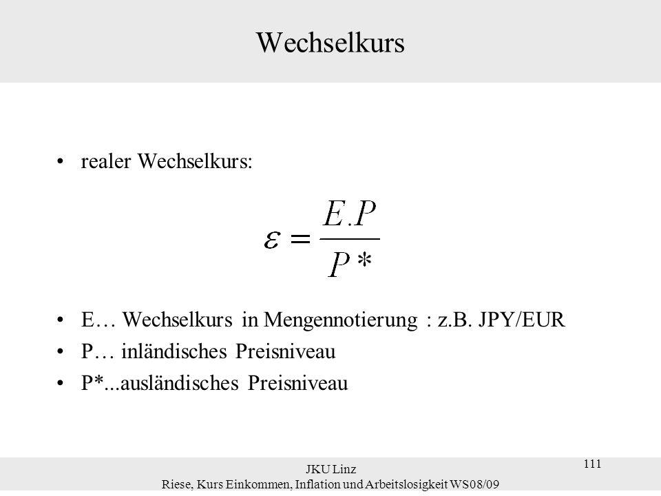 JKU Linz Riese, Kurs Einkommen, Inflation und Arbeitslosigkeit WS08/09 111 Wechselkurs realer Wechselkurs: E… Wechselkurs in Mengennotierung : z.B. JP