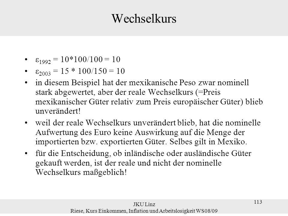JKU Linz Riese, Kurs Einkommen, Inflation und Arbeitslosigkeit WS08/09 113 Wechselkurs ε 1992 = 10*100/100 = 10 ε 2003 = 15 * 100/150 = 10 in diesem B