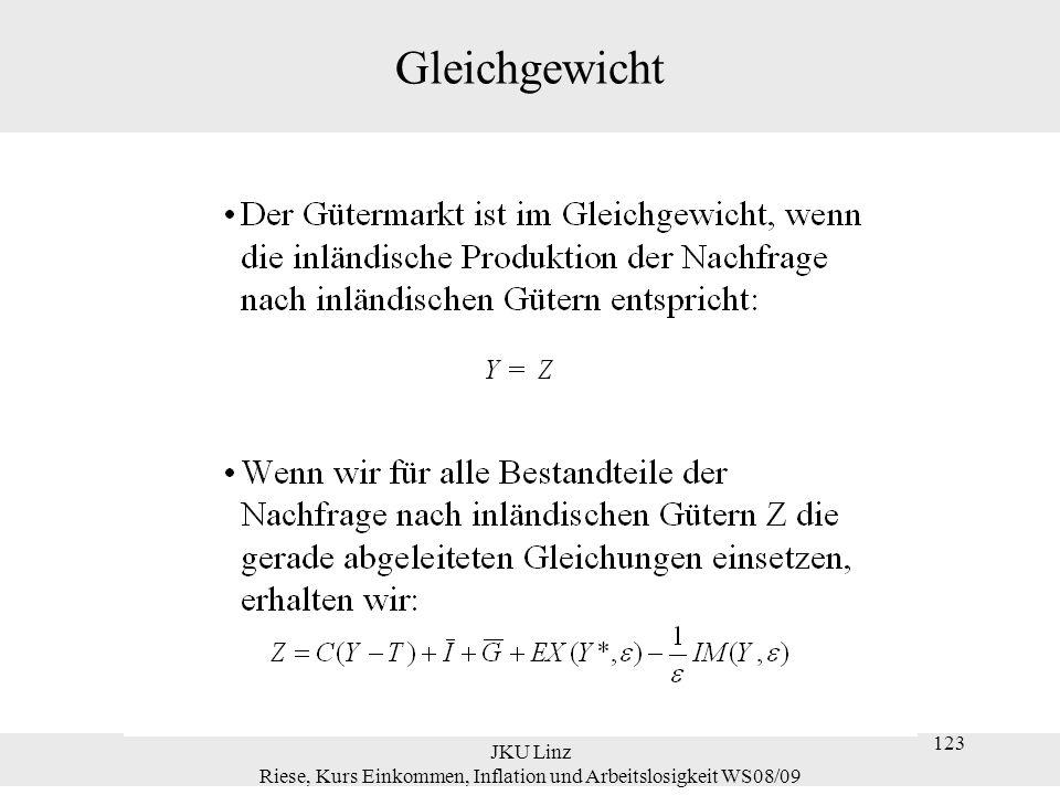 JKU Linz Riese, Kurs Einkommen, Inflation und Arbeitslosigkeit WS08/09 123 Gleichgewicht