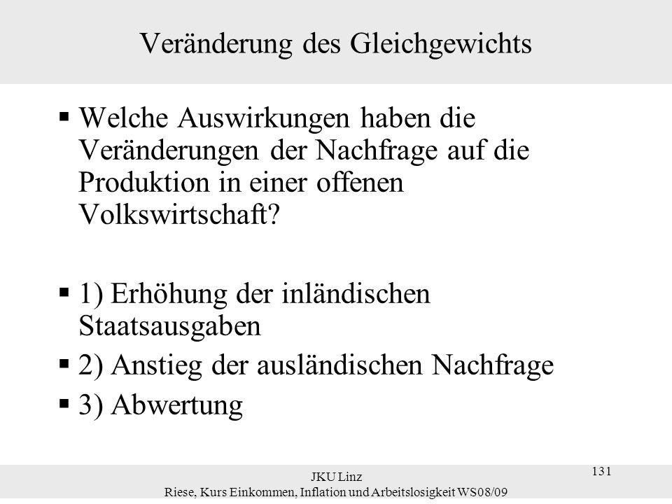 JKU Linz Riese, Kurs Einkommen, Inflation und Arbeitslosigkeit WS08/09 131 Veränderung des Gleichgewichts  Welche Auswirkungen haben die Veränderunge