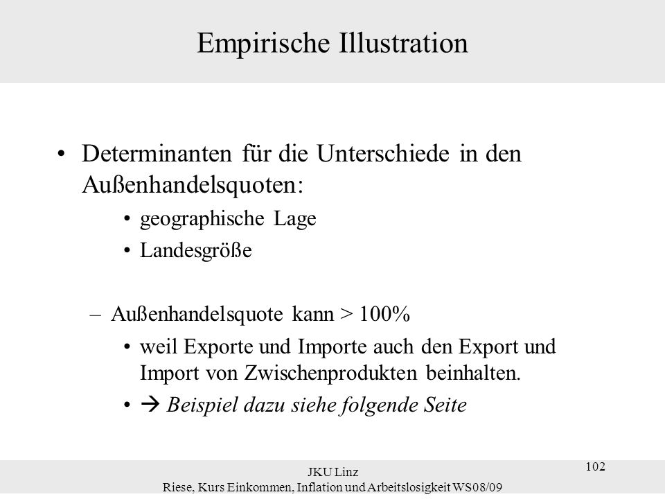 JKU Linz Riese, Kurs Einkommen, Inflation und Arbeitslosigkeit WS08/09 102 Empirische Illustration Determinanten für die Unterschiede in den Außenhand