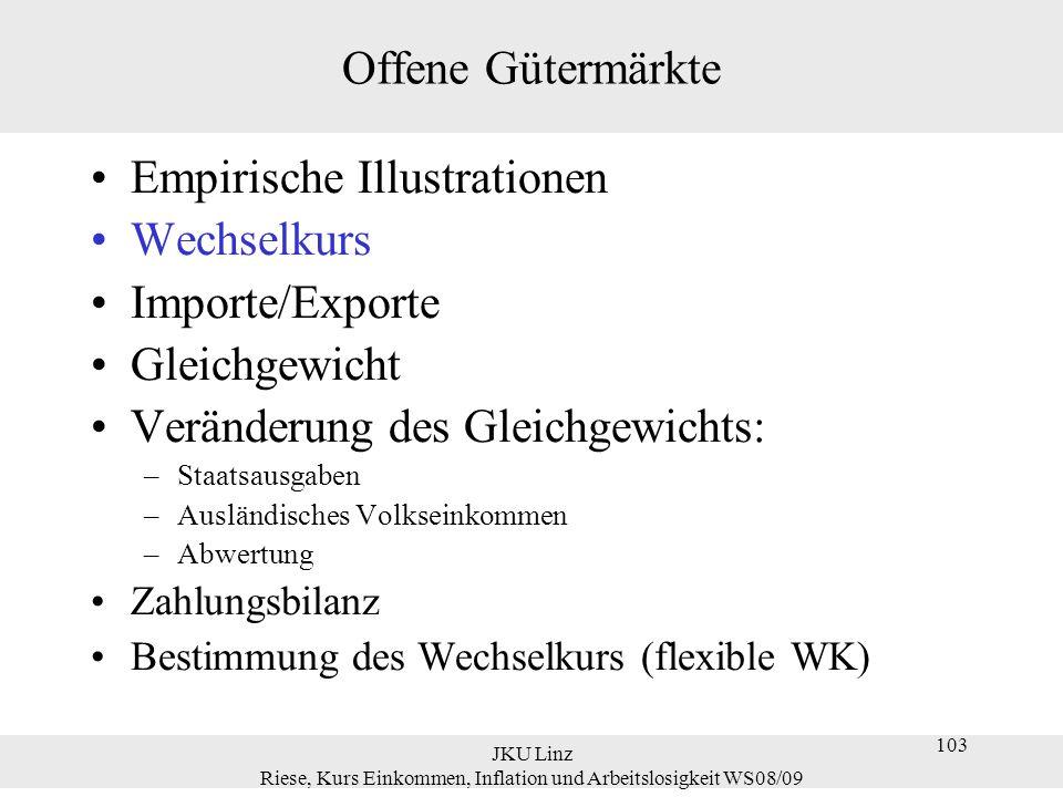 JKU Linz Riese, Kurs Einkommen, Inflation und Arbeitslosigkeit WS08/09 134 Veränderung des Gleichgewichts Erhöhung der Staatsausgaben Je offener eine Wirtschaft desto geringer ist der Effekt von ΔG>0 auf Y und desto größer ist der Effekt auf die Handelsbilanz.