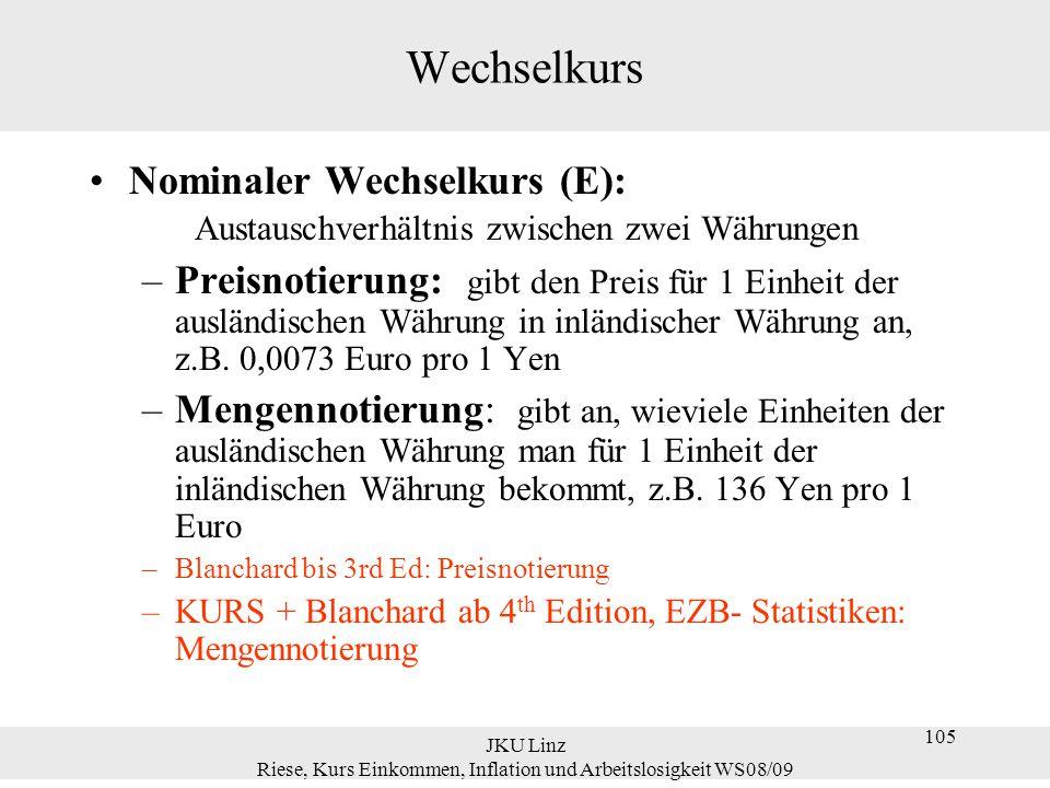 JKU Linz Riese, Kurs Einkommen, Inflation und Arbeitslosigkeit WS08/09 105 Wechselkurs Nominaler Wechselkurs (E): Austauschverhältnis zwischen zwei Wä